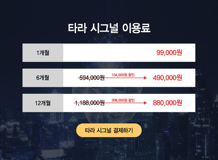 타라 시그널 이용료 1개월 9만9천원, 6개월 49만원, 12개월 88만원