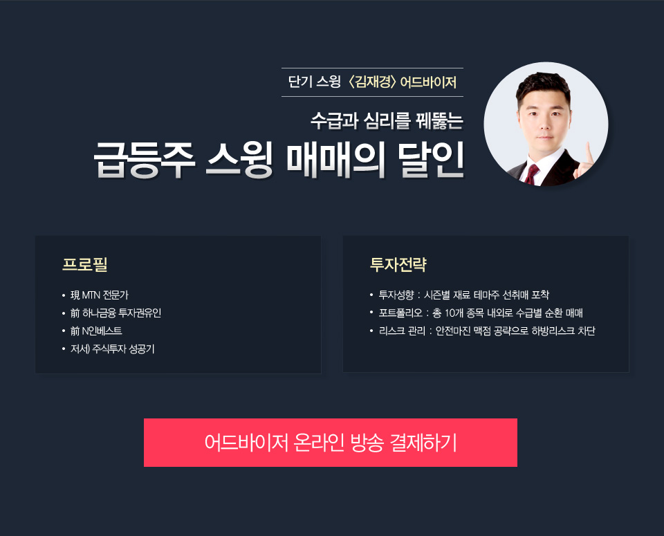 단기 스윙 김재경 어드바이저 - 수급과 심리를 꿰뚫는 급등주 스윙 매매의 달인