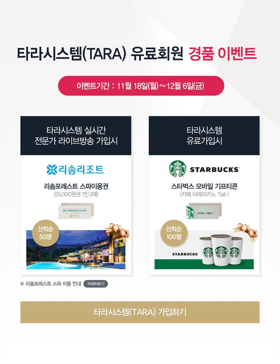 타라시스템(TARA) 유료회원 경품 이벤트. 이벤트기간 : 11월 18일(월) ~ 12월 6일(금)
